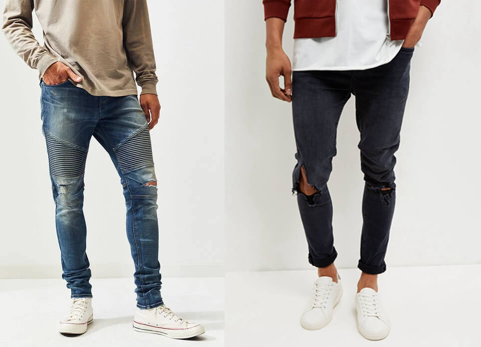 Sweater jeans rách phối giày thể thao